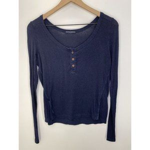 Brandy Melville Long Sleeve Solid Tee Tops Blue